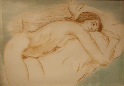 Louis MUHLSTOCK - Reclining Nude (front vue), c.1970