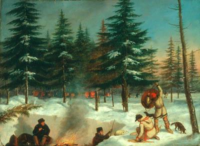 Cornelius KRIEGHOFF - A winter hunting camp (c.1858)