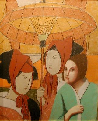 Louise SCOTT - Kimonos et parasol (1985)