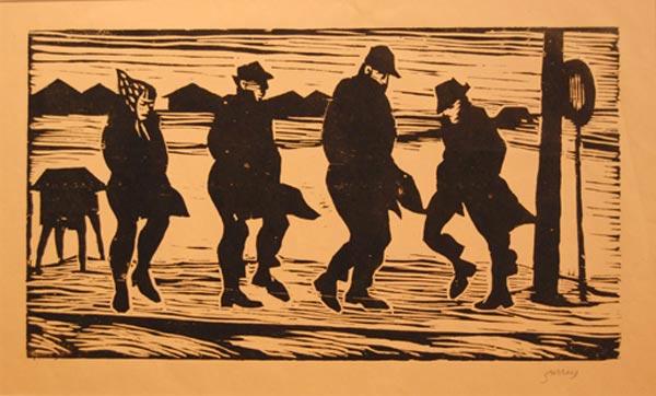 Philip SURREY - Personnages sur fond de paysage (1967)