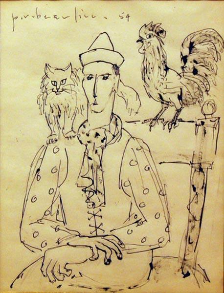 Paul-Vanier BEAULIEU - Saltimbanque au coq et au chat (1954)