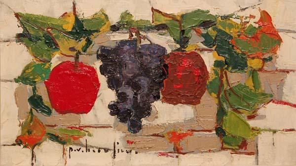 Paul-Vanier BEAULIEU - Nature morte raisin et pommes (c.1955)