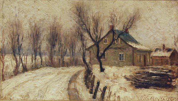 Joseph Marie Charles FRANCHèRE - Ferme en hiver sur la Rivière Richelieu (c. 1910)