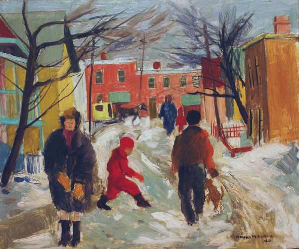 Henri MASSON - Scène de rue l'hiver (1940)