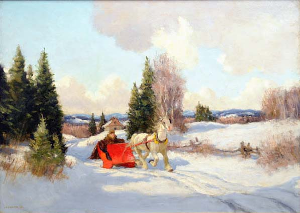 Frederick S. COBURN - Red Sleigh, Eastern Townships (1947)