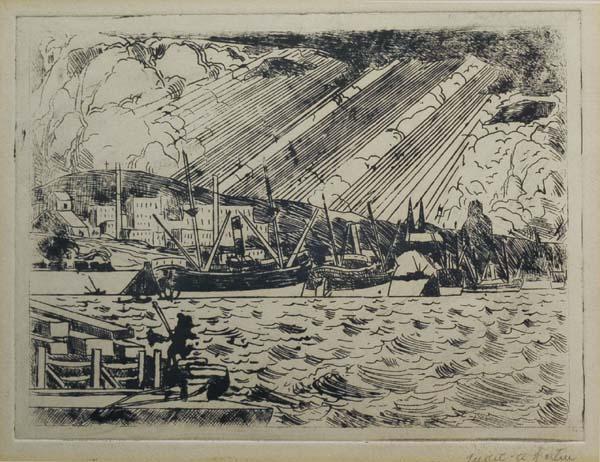 Marc-Aurèle FORTIN - Le port de Montréal (c. 1930)