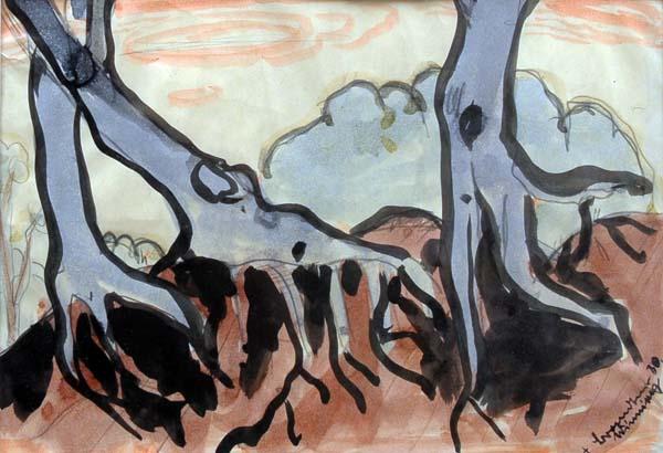 Fritz BRANDTNER - Étude d' arbres . Winnipeg (1930)
