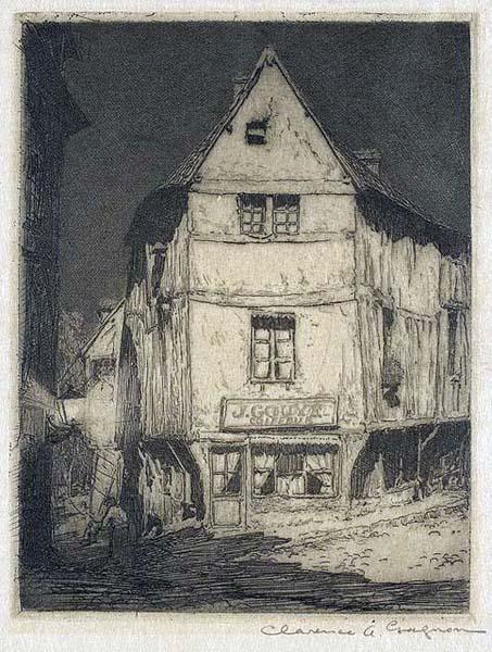 Clarence A. GAGNON - Street Moonlight, Pont de l'Arche (1908)