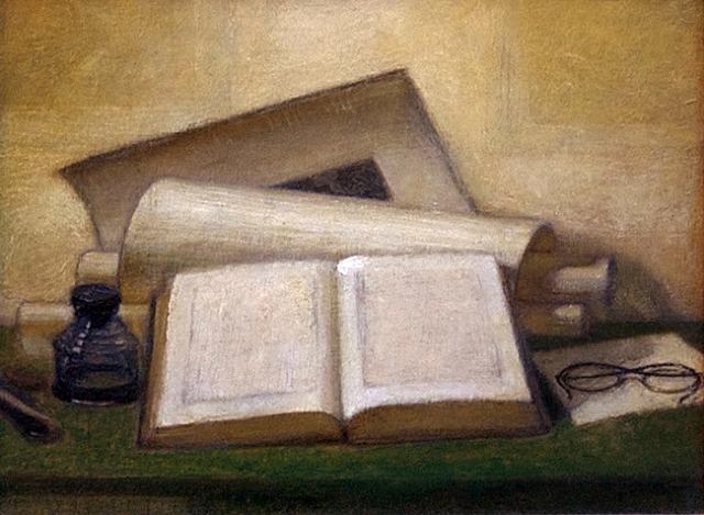 Ozias LEDUC - Nature morte au livre, aux lunettes et à l'encrier (1948)