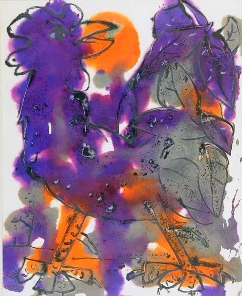 Paul-Vanier BEAULIEU - Coq orange et violet (1969)