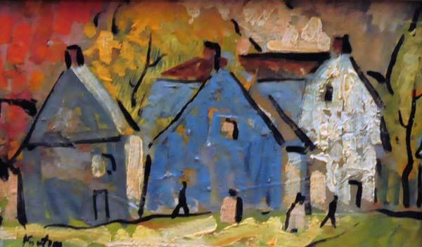 Marc-Aurèle FORTIN - Rang de maisons l'été (c. 1925)