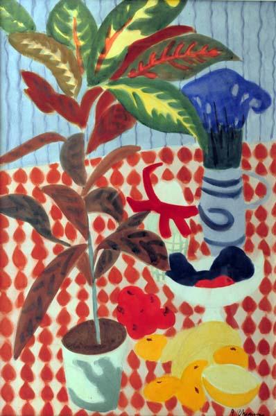 Jeanne RHéAUME - Sans titre (Plantes et fruits sur nappe pointillée rouge) 1959