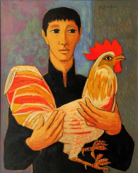 Paul-Vanier BEAULIEU - Jeune homme au coq (1956)