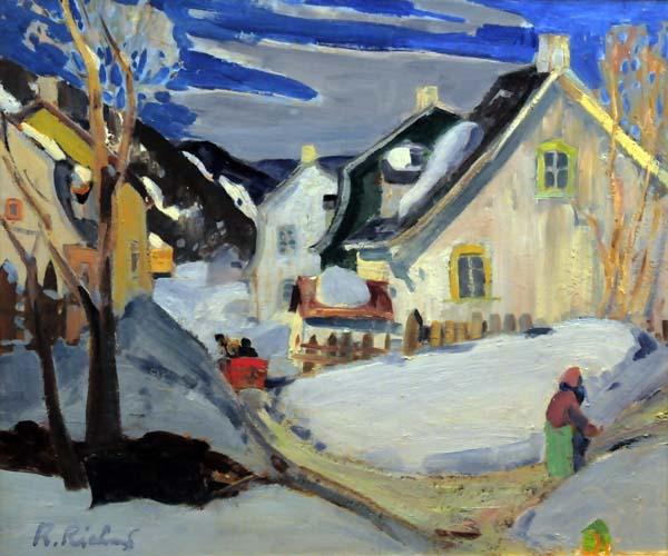 René RICHARD - Scène de Baie-St-Paul (1945)