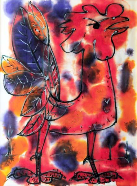 Paul-Vanier BEAULIEU - Coq rouge et bleu (1972)