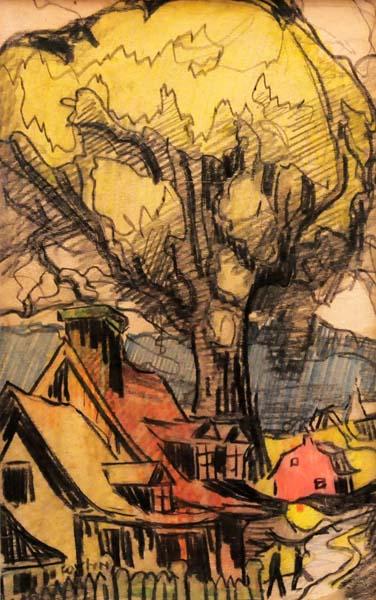 Marc-Aurèle FORTIN - Sans titre (Maison et arbre) c. 1945