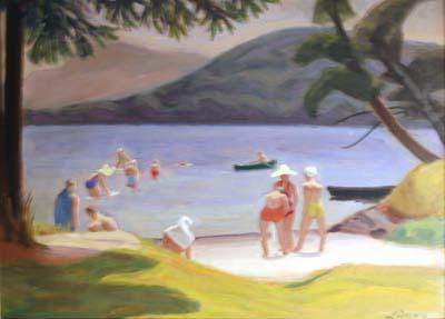 John LYMAN - La plage- Lac Ouimet (1930)